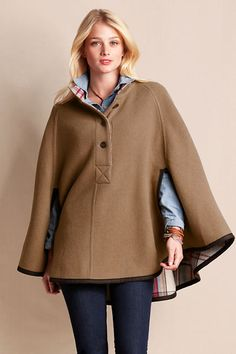 Women's Reversible Wool Cape from Lands' End $99.99