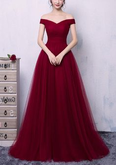 Wine Red Tulle Off Shoulder Long Formal Gown, Charming Prom Dress Formal Gowns Wine Red Tulle Off Shoulder Long Formal Gown, Charming Prom Dress Formal Gowns Senior Prom Dresses, Prom Outfits, Bridesmaid Dresses, Indian Wedding Gowns, Red Wedding Dresses, Long Formal Gowns, Formal Dresses, Red Formal Gown, Pretty Dresses