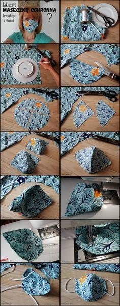 Montownia Ody: Jak uszyć profilowaną maseczkę bez wykroju w 10 minut? Crochet Earrings, Couture, Sewing, Business, Ideas, Bow Buns, Hair Bows, Dressmaking, Stitching