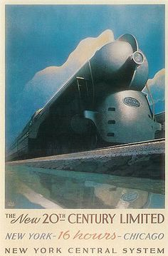 Art Deco streamline moderne train poster