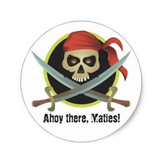 PIRATE Birthday Party Skull Ahoy There Maties Classic Round Sticker