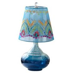 Glass table lamp in turquoise with a patterned cotton shade.    Product: Table lampConstruction Material: Glass and cottonColor: TurquoiseFeatures:  Embroidered fabric shadeWill enhance any dcor  Dimensions: 13 H x 12 Diameter