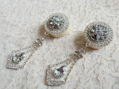 "1"" Organic 'Happily Ever After' Elegant Rhinestone Dangle Plugs"