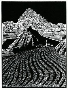 Entering castrojeriz, 2007 linoleum block print by Melissa West