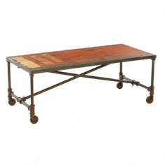 Bring a little Big Apple flavour into your living room with this Industrial Originals Truck Metal Coffee Table! Glass Dining Set, Metal Dining Table, Home Decor Furniture, Wooden Furniture, Tempered Glass Table Top, Unique Home Decor, Picnic Table, Chair, Manhattan