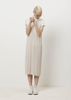 Issey Miyake PLEATS PLEASE Flared Tank Dress (Beige)