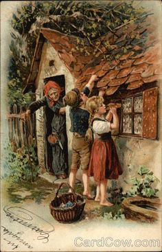 Hansel and Gretel (Brothers Grimm, Brothers Grimm) Nursery Rhymes Source by ananooani Hansel Y Gretel, Hansel And Gretel House, Classic Fairy Tales, Brothers Grimm, Grimm Fairy Tales, Fairytale Art, Alphonse Mucha, Children's Book Illustration, Nursery Rhymes