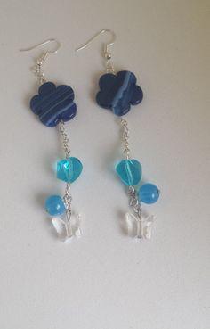 Orecchini catena con pietre azzurre di Anaherabijoux su Etsy