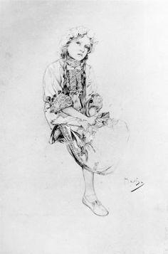 1905 Madonna of the Lilies crayon study © Alphonse Mucha