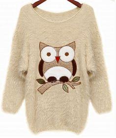 Beige Batwing Sleeve Owl Patten Loose Sweater