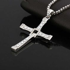 Fast & Furious Silver Plated Crystal Cross Pendant Necklace Hinged Crucifix #Unbranded #Pendant
