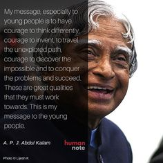 Message from A. P. J. Abdul Kalam.