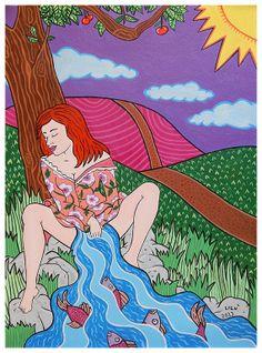 Título: 'La chica del río' Técnica: Acrílico/cartulina Dimensiones: 22 x 30 cm Autora: Lien Carrazana Lau Año: 2013  A la venta en Etsy: https://www.etsy.com/es/listing/172141553/la-chica-del-rio-2013-pintura-con?ref=related-0