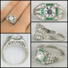 Antique Art Deco emerald and diamond ring with millegrain details and elaborate engraving, circa 1920. Would be beautiful as a cocktail ring or an engagement ring.  Via Diamonds in the Library.