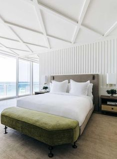 Surf's up: Miami's legendary Surf Club is now resurgent and awash with design talent | Pritzker Prize-winning architect Richard Meier has designed the 77-room hotel that cantilevers over the original 1930s Mediterranean Revival clubhouse, designed by Russell T Pancoast. It is  flanked by two 12-storey residential towers, also operated by Four Seasons and designed by Meier. Together, the complex is an exercise in discreet contemporary modernism #miami #hotel #travel #interiordesign