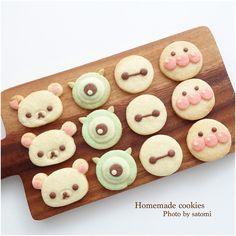 コリラックマ、マイク、ベイマックス、アンパンマンクッキー♡ Cute Snacks, Cute Food, Yummy Snacks, Fancy Cookies, Cute Cookies, Sugar Cookies, Dessert Drinks, Dessert Recipes, Icebox Cookies