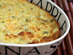 Corn, green chile, egg and cheese casserole, hot or cold, for any time of the day.