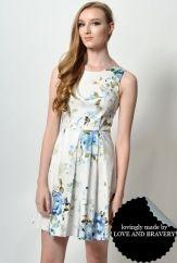 LAB ODETTE WATERCOLOR FLORAL DRESS CREAM