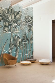 Gradated blue, white flower forms, black detail. oversized wall botanicals.