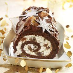 Looks very nice ! Must be verryyyyyyyy good too. Bûche chocolat marrons glacés