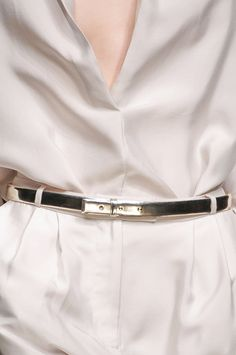 Silver Metallic Belt & White Color Fashion Trend forSpring Summer 2013.  AnteprimaSpring Summer 2013.    #Fashion #Accessory #Trends
