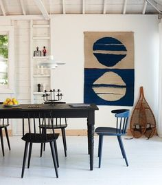 "Beautiful and airy dining room with a simple wall hanging.  This blue is very sililar to ""Stiffkey blue"" by #farrowandball stocked online and in store now! http://www.waringstore.co.uk/farrow-and-ball/stiffkey-blue-no-281.html"