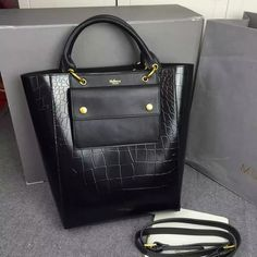 2016 A/W Mulberry Maple Tote Bag Black Polished Embossed Croc Leather