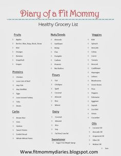 Diary of a Fit Mommy's Healthy Grocery Shopping List Printable