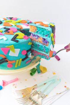Make this throwback cake using by bright, abstract patterns from the and Give layers of the cake a colorful tie dye look for a fun surprise when cut. 30th Birthday Parties, Birthday Cakes, Birthday Ideas, Party Themes, 90s Theme Party Decorations, Party Ideas, 90s Party, Themed Cakes, Party Cakes
