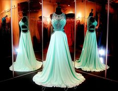 Aqua Green Chiffon Prom or Pageant Gown-High Beaded Sweetheart Neckline-Cut Outs-Illusion Back-Train-115DJ090800325