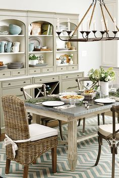 Family Night menu from Cooks Illustrated X Back Chair dishes China Cabinet and Hutch Decor, Beautiful Kitchens, Dining, Home Decor, Kitchen Dining, Dining Room Decor, Indoor Decor, Dining Room, Rustic Dining