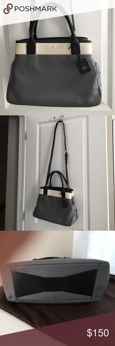 """Kate Spade Leather Branton Square Mills Gray Bag 🎉🎉Sale $120 🎉🎉Beautiful Kate Spade gently used bag. Detachable cross body strap, smooth leather, gray & cream and trimmed in black. Well taken care of, see pictures for minor wear. Size 13""""W, 9"""" H, 5 1/2"""" D. Kate Spade duster included. kate spade Bags Totes"""