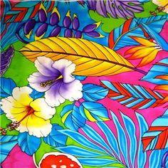 Bird Of Paradise Hawaiian Fabric | Trendtex Cotton Fabric Huge Vivid Hawaiian Kokio Palekaiko Ahwapuhi ...