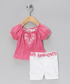 Take a look at this Young Hearts Pink Floral Peasant Top & White Shorts - Infant on zulily today!