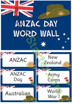 A great ANZAC Day Word Wall Vocabulary Teaching Resource. This resource contains forty-two ANZAC Day related vocabulary cards for a word wall. Great idea for anzac day celebrations. Abc Activities, Library Activities, Kindergarten Activities, Remembrance Day Activities, Army Day, National Days, Anzac Day, Vocabulary Cards, Australian Curriculum