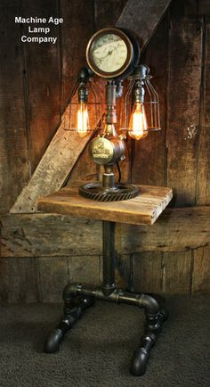 Steampunk Industrial Barn Wood Lamp Table Stand Floor 4