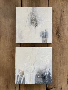 """Original encaustic paintings by Tamara Lepianka. This is a set of two 10x10 inch paintings. Encaustic and mixed media on wood panel with a .75"""" cradle. The edges are finished in a beautiful walnut wood veneer and clear shellac as shown. The paintings are wired and ready to hang. 10 x 10 x .75 in 