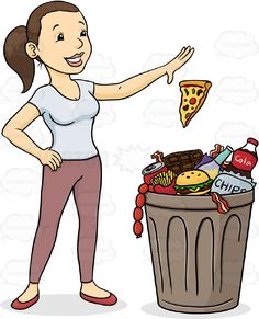 Brunette Ponytail Woman In Tight White T-Shirt, Pink Leggings Stands Over Garbage Can Overflowing With Various Fast Foods,Confidentally Throws Slice of Pizza Away Into Trash Bin #bin #diet #fast #female #fitness #food #garbage #girl #gym #health #human #junk #lady #lose #loss #out #PDF #people #person #rubish #throw #trash #vectorgraphics #vectors #vectortoons #vectortoons.com #weight #woman #work