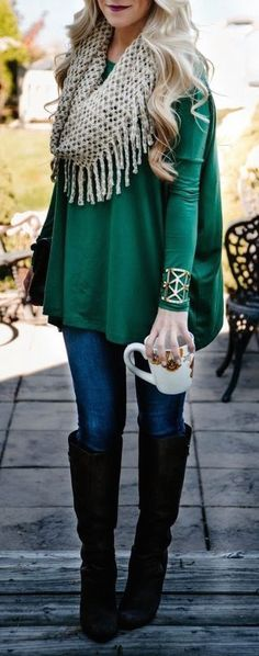 #fall #fashion / green + boots