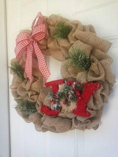 Your place to buy and sell all things handmade Holiday Burlap Wreath, Easy Burlap Wreath, Christmas Wreaths For Front Door, Deco Mesh Wreaths, Holiday Wreaths, Door Wreaths, Holiday Decor, Country Christmas, Christmas Diy