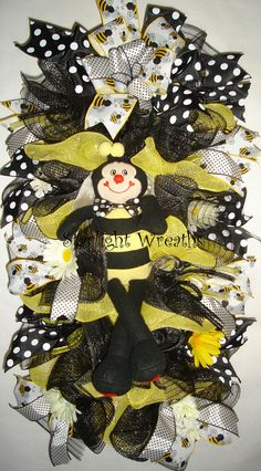 Bumble Bee Burlap and Mesh Swag/Wreath Bumble by StarlightWreaths