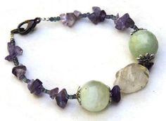 Amethyst new jade statement bracelet, Pale green purple eclectic bracelet, Funky Wabi Sabi jewelry, February birthstone, OOAK boho jewelry