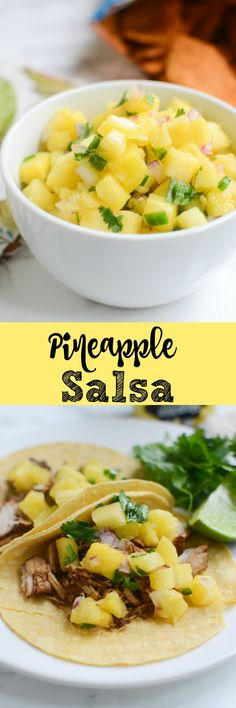 Pineapple Salsa - perfect on tacos, burritos, or just with tortilla chips! Really easy and really delicious! Carnitas, Barbacoa, Appetizer Recipes, Snack Recipes, Cooking Recipes, Healthy Recipes, Healthy Tacos, Yummy Appetizers, Dip Recipes