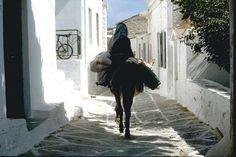 Typical village street in Driopida, Kythnos island, Greece