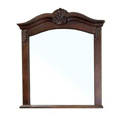 Possible too ornate and too wide;  Bellaterra Home Ashby 38-6/10 in. L x 33-1/2 in. W Wall Mirror in Walnut-202016A-MIRROR at The Home Depot