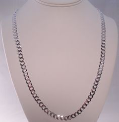 """ITALY 925 STERLING SILVER DIAMOND CUT CURB LINK CHAIN NECKLACE 24"""" TOP QUALITY #AuthenticItalianTopQualityCraftsmanship #Chain"""