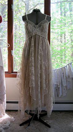 Empire waist tattered gypsy boho wedding dress made to order