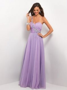 A-line One-Shoulder Sleeveless Beading Floor-length Chiffon Gown