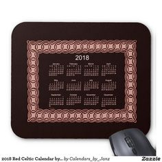 2018 Red Celtic Calendar by Janz Mouse Pad