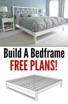 Bedframe Tutorial Build Your Own Bed Frame. Learn how with these free plans!Build Your Own Bed Frame. Learn how with these free plans! Furniture Projects, Furniture Plans, Home Projects, Diy Furniture, Bedroom Furniture, Furniture Dolly, Furniture Market, Furniture Movers, Refurbished Furniture